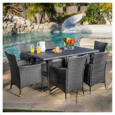 Malta 7pc Wicker Patio Dining Set with Cushions Gray