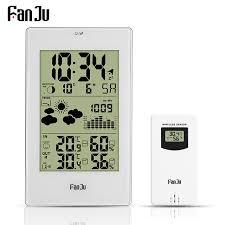 fanju weather station digital alarm wall clock temperature humidity wireless outdoor sensor thermometer hygrometer desktop clock