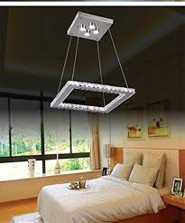 dixun led k9 crystal chandelier square pendant lamp flush mount ceiling light fixture 30cm white