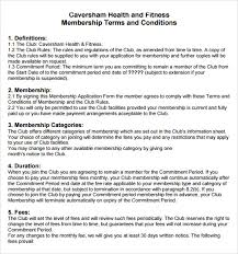 membership terms and conditions template