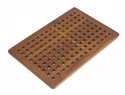 the original teak grate bath shower mat