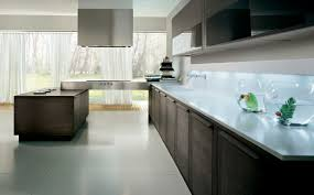 Contemporary kitchen / glass / wood veneer - INTEGRA
