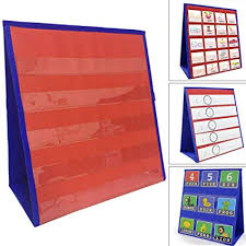 Hinmay Desktop Tabletop Pocket Chart Classroom Double Side And Self Standing Pocket Chart For Kindergarten Home Use Or Classroom