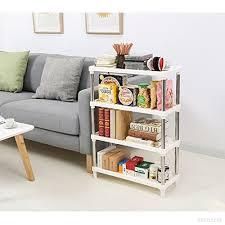 teerfu plastic shelf bathroom storage shelves 4 tier white freestanding shelves corner organizer for kitchen bathroom