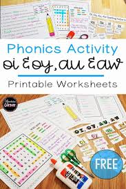 Check out our different sets of worksheets that help kids practice and learn phonics skills like beginning sounds, rhyming and more. Vowel Digraph Oy Oi Aw Au Worksheets Phonics Activities Spelling Activities Phonics Free