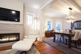 lennox gas fireplace family room transitional with area rug bare bulb chandelier charles eames