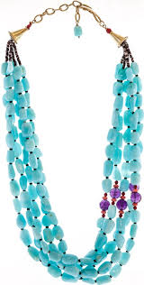 full bloom montclair artist zachary bloom s one of a kind five strand statement necklace features peruvian opals amethyst and c beads with a