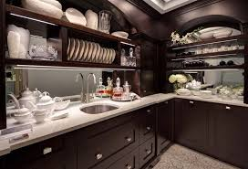 dark wood kitchen cabinets. Luxury Pantry With Sink And Dark Wood Kitchen Cabinets E