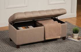 taupe fabric storage ottoman  caravana furniture