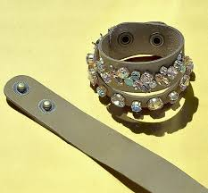 diy with swarovski crystals and natural leather cuff bracelets