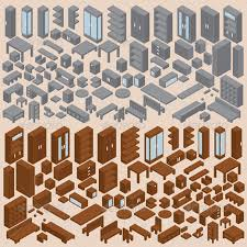 isometric office furniture vector collection. isometric furniture vector set two manmade objects office collection c