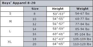 Youth Size 8 20 Chart Youth Jeans Size Chart Otvod