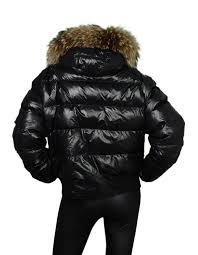 moncler black down puffer jacket w rac fur hood sz 5 in good condition for
