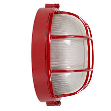 red large anchorage bulkhead wall mount light fixture red