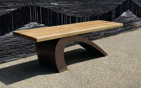 a modern garden benches with historic wallsmodern outdoor