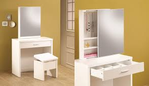 Modern Makeup Vanity For Small Spaces Featuring Sliding Mirrored Door  Hidden Storage With Under Top Slide Out Storage Drawer And White Unique  Stool With ...
