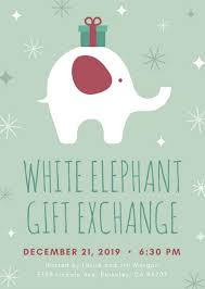 Work Christmas Party Flyers White Elephant With Gift Christmas Flyer Templates By Canva