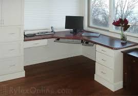 White Lacquer Corner Home Desk with Mahogany ...