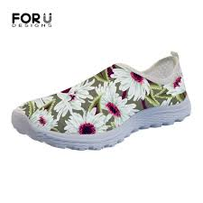 Floral Design Shoes For Ladies Us 16 99 32 Off Forudesigns Fashion Floral Style Spring Womens Shoes Flats Flower Printing Casual Sneakers Beach Ladies Loafers Slip On Women In