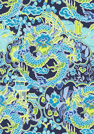 imperial dragon navy and green t14235 collection imperial garden from thibaut fabric