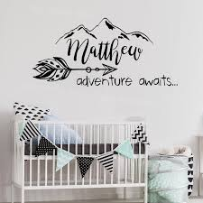 boho arrow wall decal nursery adventure awaits wall stickers quote mountain personalized baby name decals rustic on personalized wall decor for nursery with boho arrow wall decal nursery adventure awaits wall stickers quote