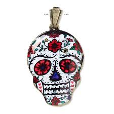 pendant resin and gold finished brass red white multicolored 30x22mm dia de los muertos skull with flower pattern and open bail sold individually