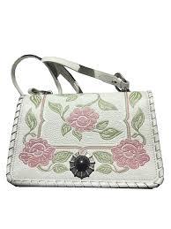 Flor Designer Discount Details About Miu Miu Prada Womens White Madras Flor Floral Designer Handbag 5bd035 Nwt
