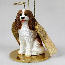 cavalier king charles dog figurine ornament angel statue hand painted brown 180772211129 jpg