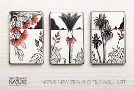 native new zealand ceramic tile wall art handpainted by ceramic artist kevin kilsby this tile triptych features a natural scene with pohutukawa flaxes  on wall art tiles nz with native new zealand ceramic tile wall art handpainted by ceramic