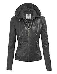 moto leather jacket womens. mbj womens faux leather motorcycle jacket with hoodie moto h