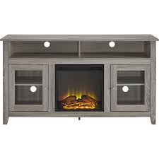 walker edison tall fireplace cabinet tv stand for most flat panel tvs up to 65 driftwood bb58fp18hbag best