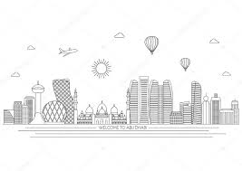 Abu Dhabi Detailed Skyline Travel And Tourism Background Vector