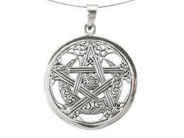 sterling silver 30mm celtic pentagram sun moon pendant
