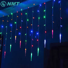 Colored String Lights Us 10 37 30 Off Holiday Lighting 3 5m Colorful Icicle Fairy Led Curtain String Lights Garland Outdoor Decoration Christmas Led Light 8 Modes In Led