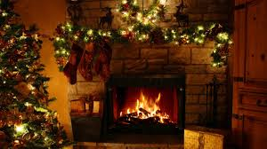 Christmas decorated fireplace 10 hours full HD