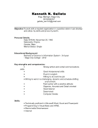 Objective For A College Student Resume Resume For College