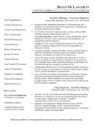 Chief Engineer Sample Resume 4 Facility Manager Electrical Engineer Resume