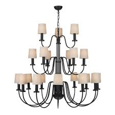 period style light chandelier in black w linen candle clip shades