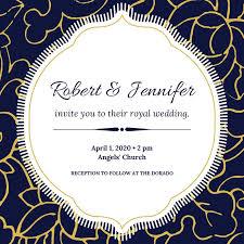 Royal Invitation Template Blue White Gold Floral Elegant Royal Wedding Invitation