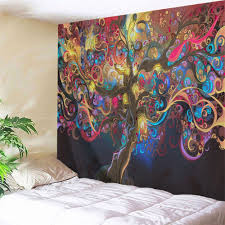 trendy tree of life print tapestry wall hanging art decoration