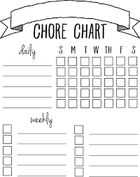 Chore Charts For Adults Printable Diy Printable Chore Chart Chore List For Kids Chore Chart