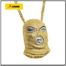 xs917 mens hip hop iced out gold color goon ski mask pendant w 36 franco chain men s pendants necklaces whole jewelry