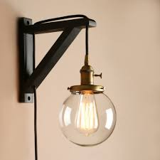 retro industrial globe glass lampshade plug in wooden bracket wall light sconce