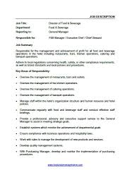 Organizational Chart Food And Beverage Food And Beverage Job Descriptions