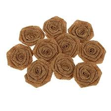 Pack of <b>10pcs</b> Rustic <b>Flower Rose</b> Wedding <b>Burlap</b> Hessian <b>Jute</b> ...