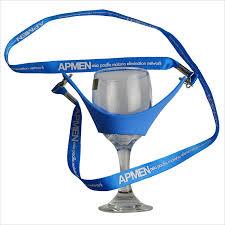 blue printing hands free wine glass holder lanyard