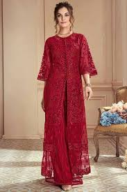 Red Net Dress Design Cherry Red Net Embroidered Palazzo Pant Suit