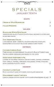specials menu market cafe specials menu daily special menus