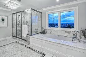 white marble master bathrooms white marble master bathroom with walk in shower and low profile chandelier white carrara marble master bathroom