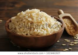 cooked brown rice in a bowl. Plain Cooked Cooked Whole Grain Brown Rice Served In A Bowl Selective Focus On Brown Rice In A Bowl K